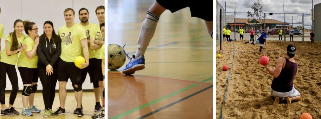 Indoor dodgeball, indoor soccer futsal, beach dodgeball tournament