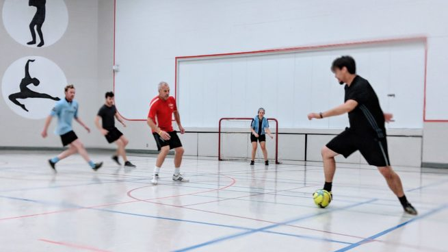Adult co-ed rec indoor soccer futsal in Saskatoon